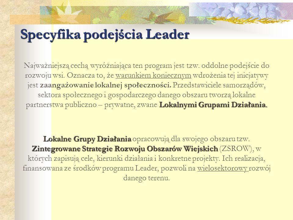 Specyfika podejścia Leader Lokalnymi Grupami Działania. Najważniejszą cechą wyróżniająca ten program jest tzw. oddolne podejście do rozwoju wsi. Oznac