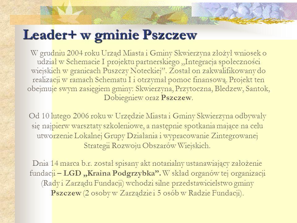 """Leader+ w gminie Pszczew 4 kwietnia 2006 roku w Pałacu Wiejce odbyła się zorganizowana przez LGD """"Kraina Podgrzybka i UMiG Skwierzyna konferencja """"Rozwój gospodarczy, turystyki i agroturystyki na terenie Puszczy Noteckiej , która podsumowała prace nad strategią, a jednocześnie poruszyła tematykę dalszych działań związanych z wdrażaniem programu Leader+."""