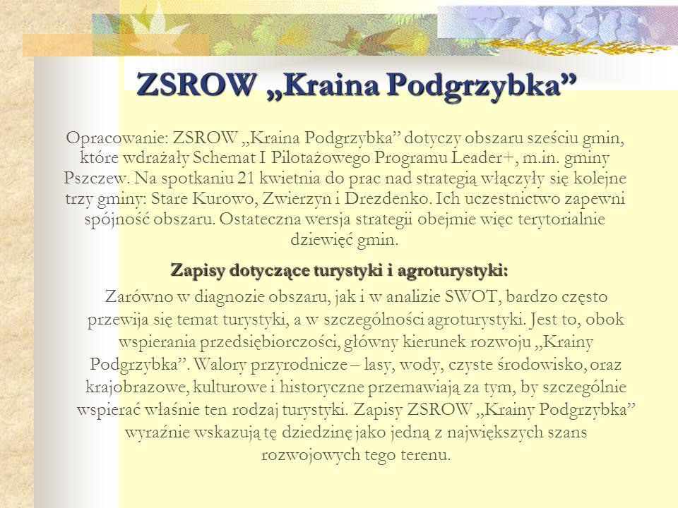 """ZSROW """"Kraina Podgrzybka"""" Opracowanie: ZSROW """"Kraina Podgrzybka"""" dotyczy obszaru sześciu gmin, które wdrażały Schemat I Pilotażowego Programu Leader+,"""