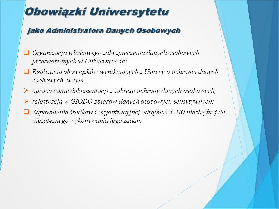 Obowiązki Uniwersytetu  Organizacja właściwego zabezpieczenia danych osobowych przetwarzanych w Uniwersytecie;  Realizacja obowiązków wynikających z