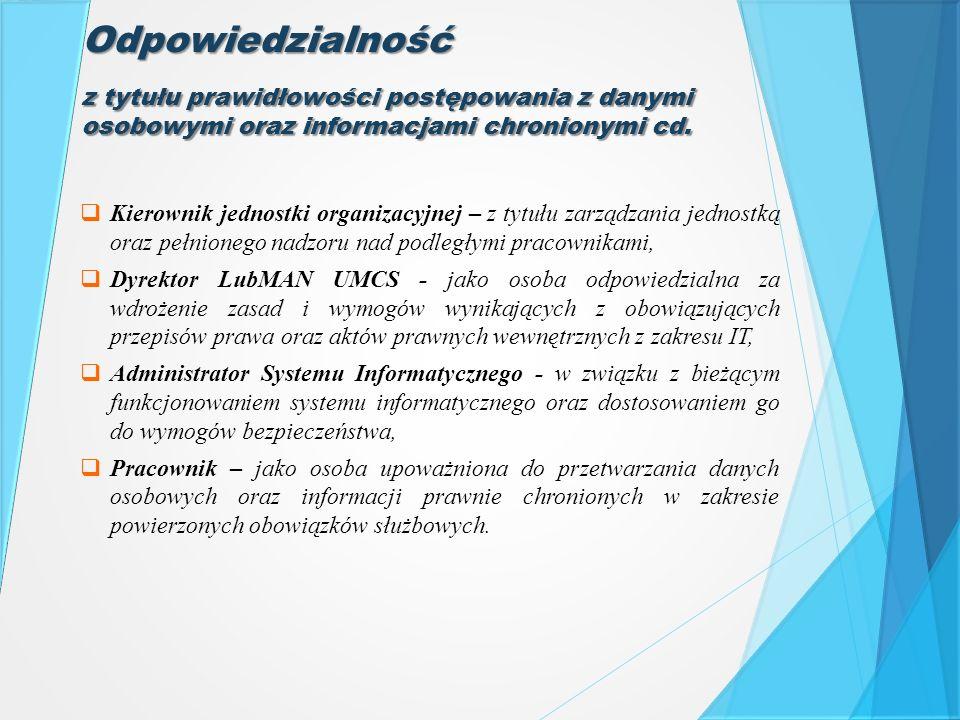 Odpowiedzialność  Kierownik jednostki organizacyjnej – z tytułu zarządzania jednostką oraz pełnionego nadzoru nad podległymi pracownikami,  Dyrektor