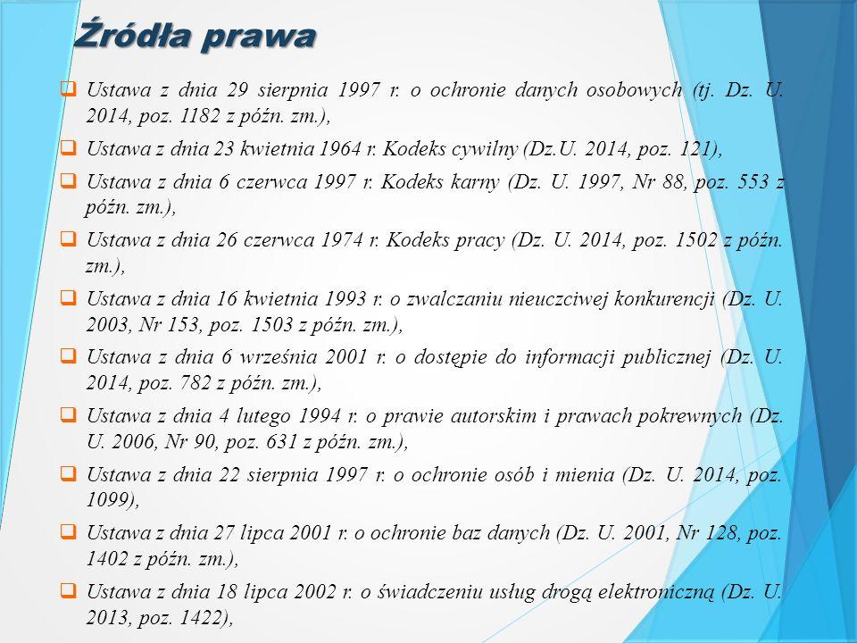  Ustawa z dnia 29 sierpnia 1997 r. o ochronie danych osobowych (tj. Dz. U. 2014, poz. 1182 z późn. zm.),  Ustawa z dnia 23 kwietnia 1964 r. Kodeks c