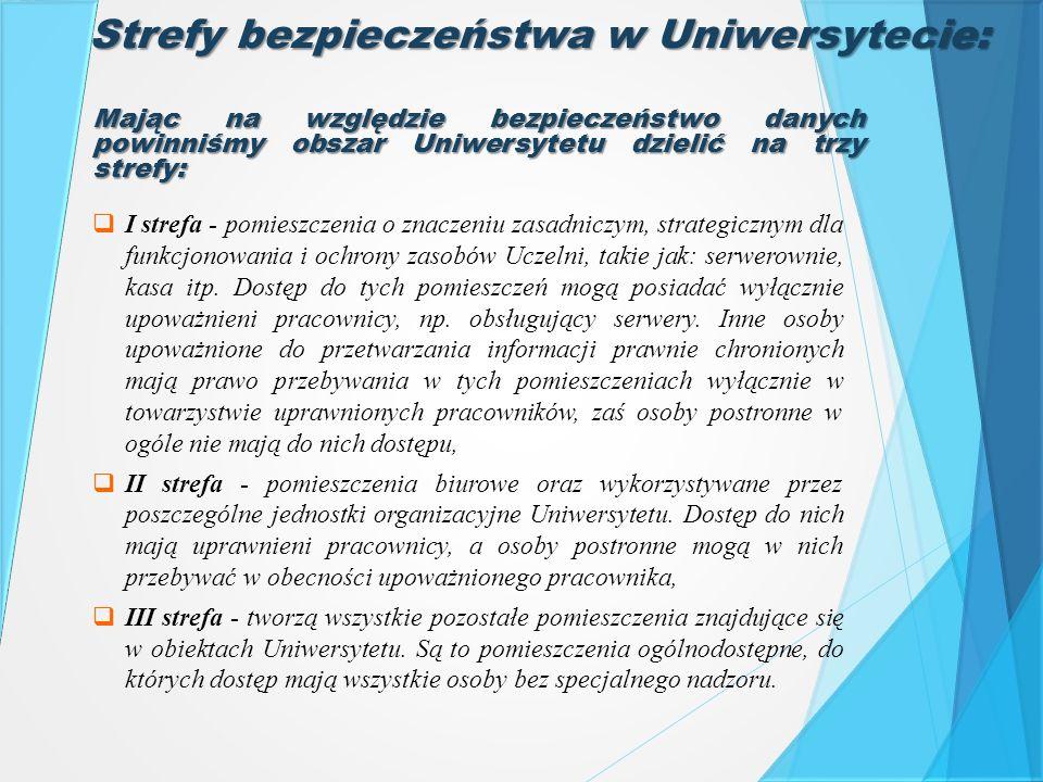  I strefa - pomieszczenia o znaczeniu zasadniczym, strategicznym dla funkcjonowania i ochrony zasobów Uczelni, takie jak: serwerownie, kasa itp. Dost