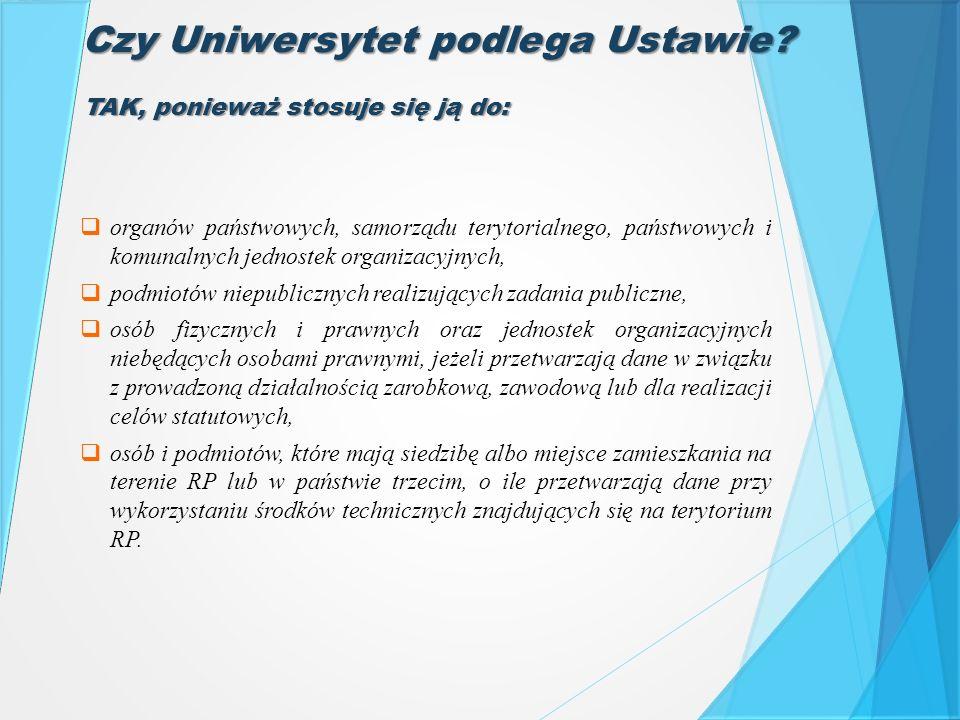 Czy Uniwersytet podlega Ustawie?  organów państwowych, samorządu terytorialnego, państwowych i komunalnych jednostek organizacyjnych,  podmiotów nie
