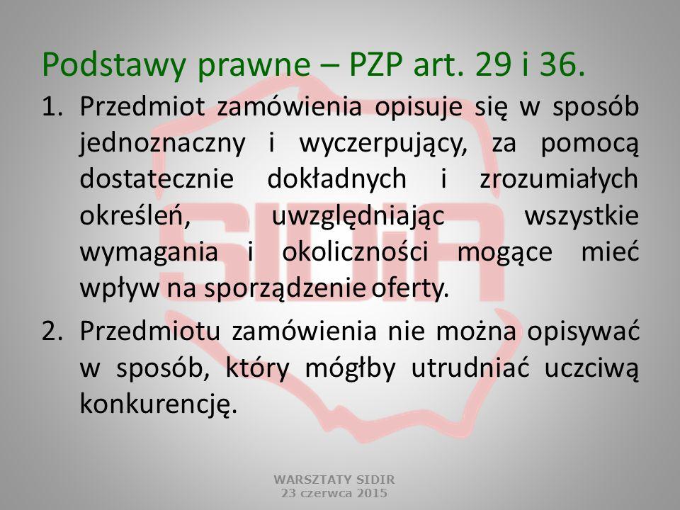 Podstawy prawne – PZP art. 29 i 36.