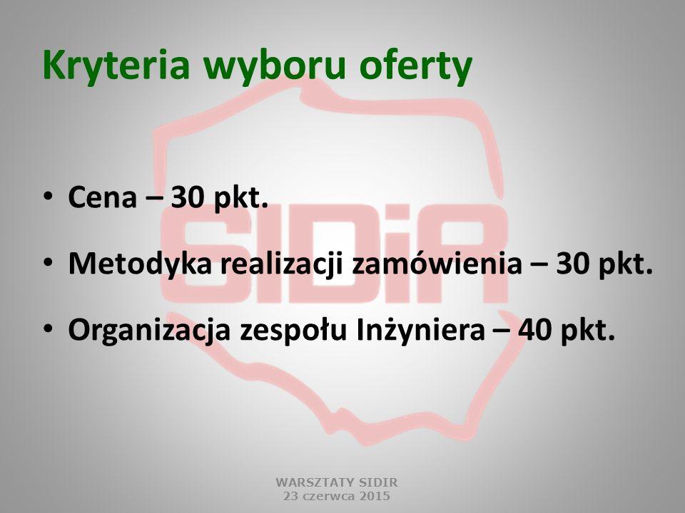 Kryteria wyboru oferty Cena – 30 pkt. Metodyka realizacji zamówienia – 30 pkt.