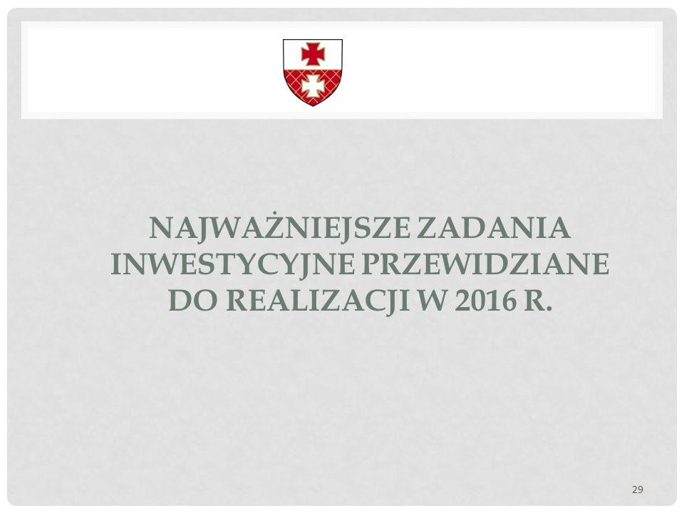 NAJWAŻNIEJSZE ZADANIA INWESTYCYJNE PRZEWIDZIANE DO REALIZACJI W 2016 R. 29