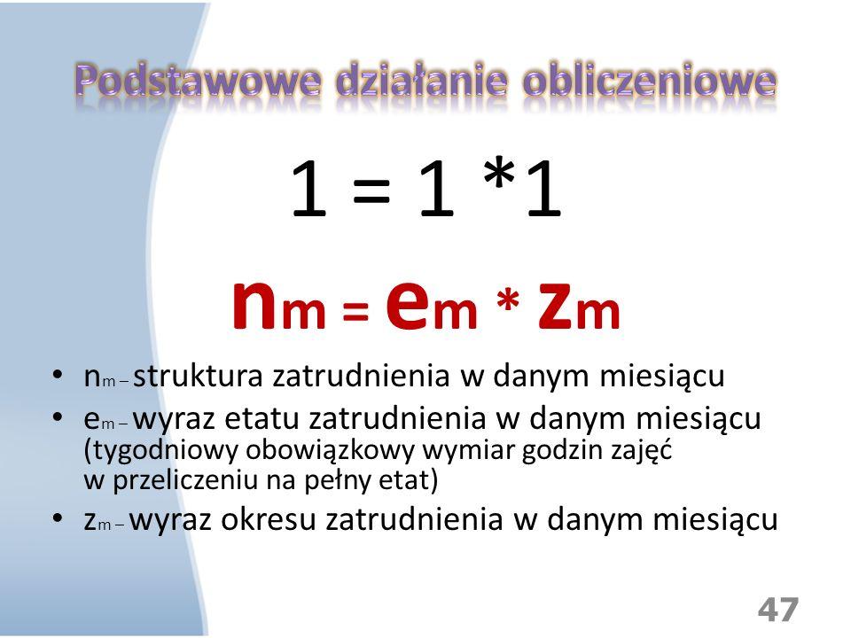 1 = 1 *1 n m = e m * z m n m – struktura zatrudnienia w danym miesiącu e m – wyraz etatu zatrudnienia w danym miesiącu (tygodniowy obowiązkowy wymiar
