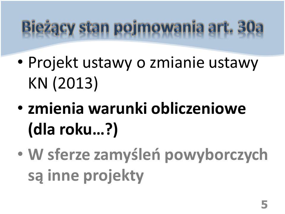 Projekt ustawy o zmianie ustawy KN (2013) zmienia warunki obliczeniowe (dla roku…?) W sferze zamyśleń powyborczych są inne projekty 5