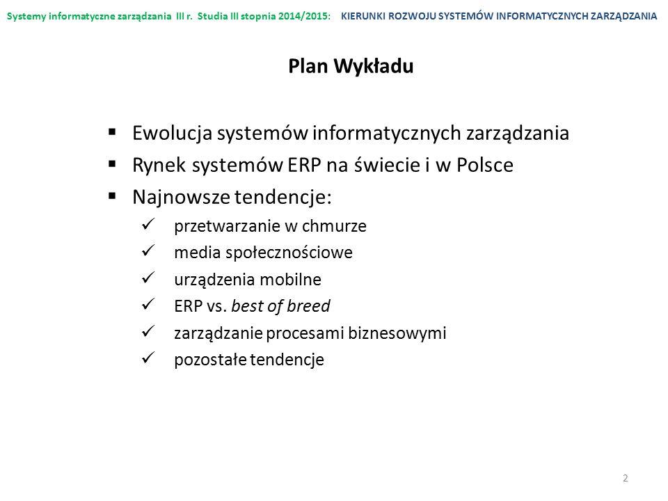 Systemy informatyczne zarządzania III r. Studia III stopnia 2014/2015:KIERUNKI ROZWOJU SYSTEMÓW INFORMATYCZNYCH ZARZĄDZANIA  Ewolucja systemów inform