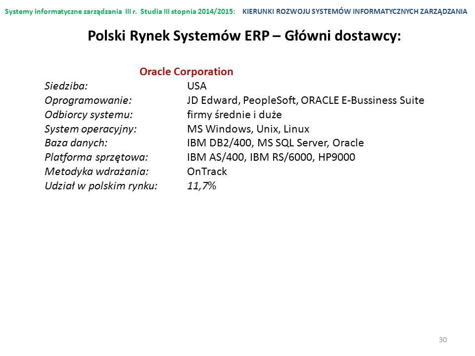 Systemy informatyczne zarządzania III r. Studia III stopnia 2014/2015:KIERUNKI ROZWOJU SYSTEMÓW INFORMATYCZNYCH ZARZĄDZANIA Oracle Corporation Siedzib