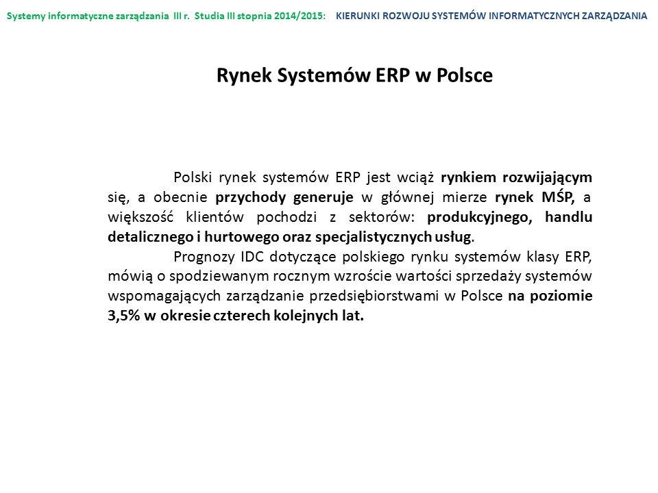 Systemy informatyczne zarządzania III r. Studia III stopnia 2014/2015:KIERUNKI ROZWOJU SYSTEMÓW INFORMATYCZNYCH ZARZĄDZANIA Polski rynek systemów ERP