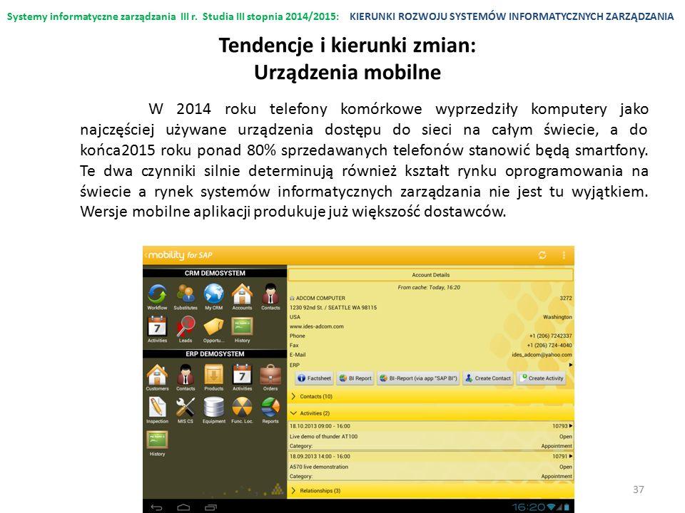 Systemy informatyczne zarządzania III r. Studia III stopnia 2014/2015:KIERUNKI ROZWOJU SYSTEMÓW INFORMATYCZNYCH ZARZĄDZANIA Tendencje i kierunki zmian