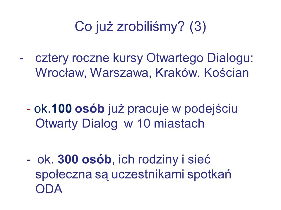 Co już zrobiliśmy.(3) -cztery roczne kursy Otwartego Dialogu: Wrocław, Warszawa, Kraków.