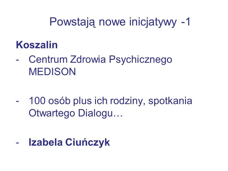 Powstają nowe inicjatywy -1 Koszalin -Centrum Zdrowia Psychicznego MEDISON -100 osób plus ich rodziny, spotkania Otwartego Dialogu… -Izabela Ciuńczyk