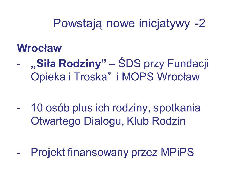 """Powstają nowe inicjatywy -2 Wrocław -""""Siła Rodziny – ŚDS przy Fundacji Opieka i Troska i MOPS Wrocław -10 osób plus ich rodziny, spotkania Otwartego Dialogu, Klub Rodzin -Projekt finansowany przez MPiPS"""