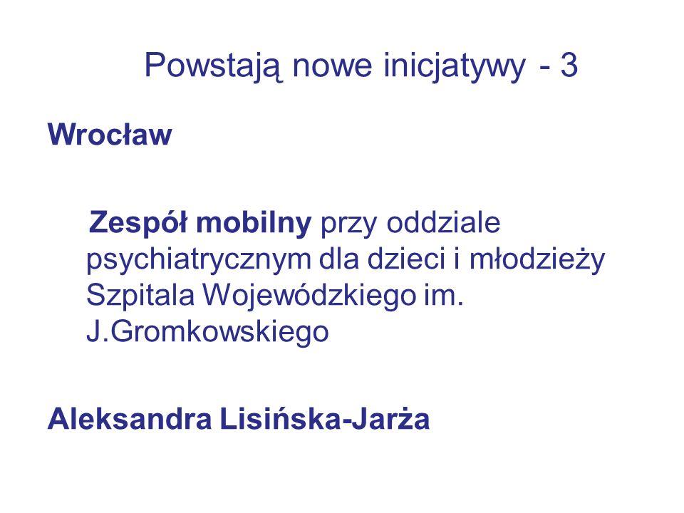 Powstają nowe inicjatywy - 3 Wrocław Zespół mobilny przy oddziale psychiatrycznym dla dzieci i młodzieży Szpitala Wojewódzkiego im.