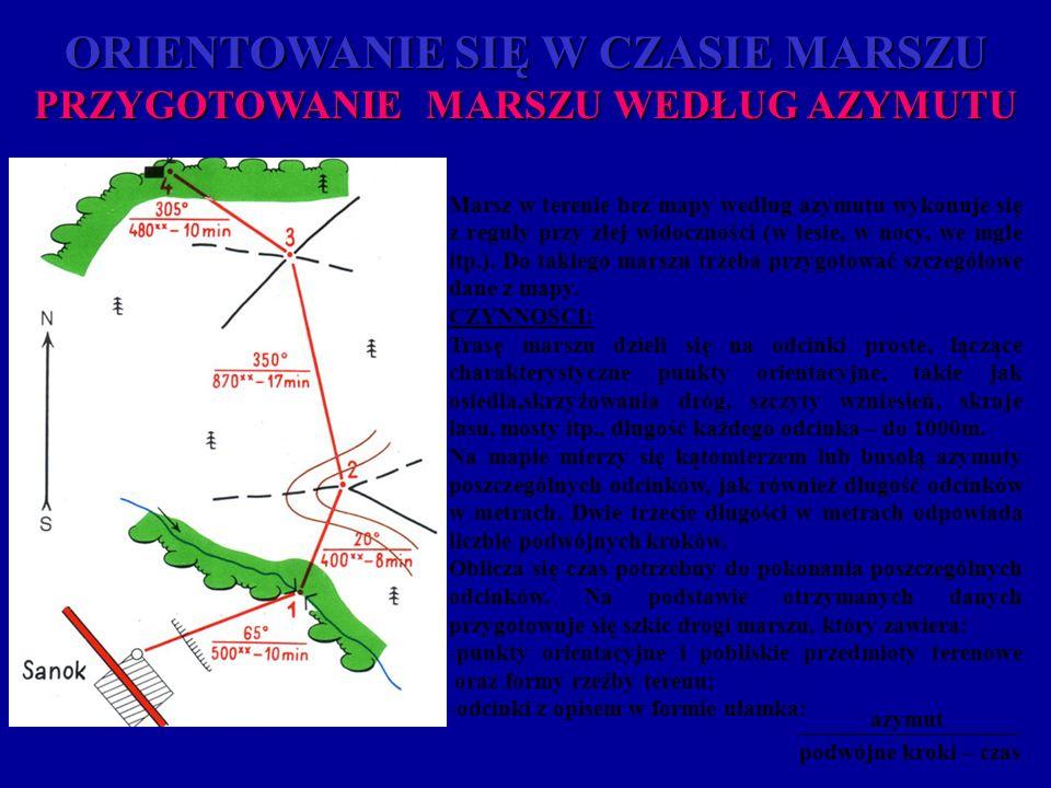 ORIENTOWANIE SIĘ W CZASIE MARSZU PRZYGOTOWANIE MARSZU WEDŁUG AZYMUTU Marsz w terenie bez mapy według azymutu wykonuje się z reguły przy złej widocznoś