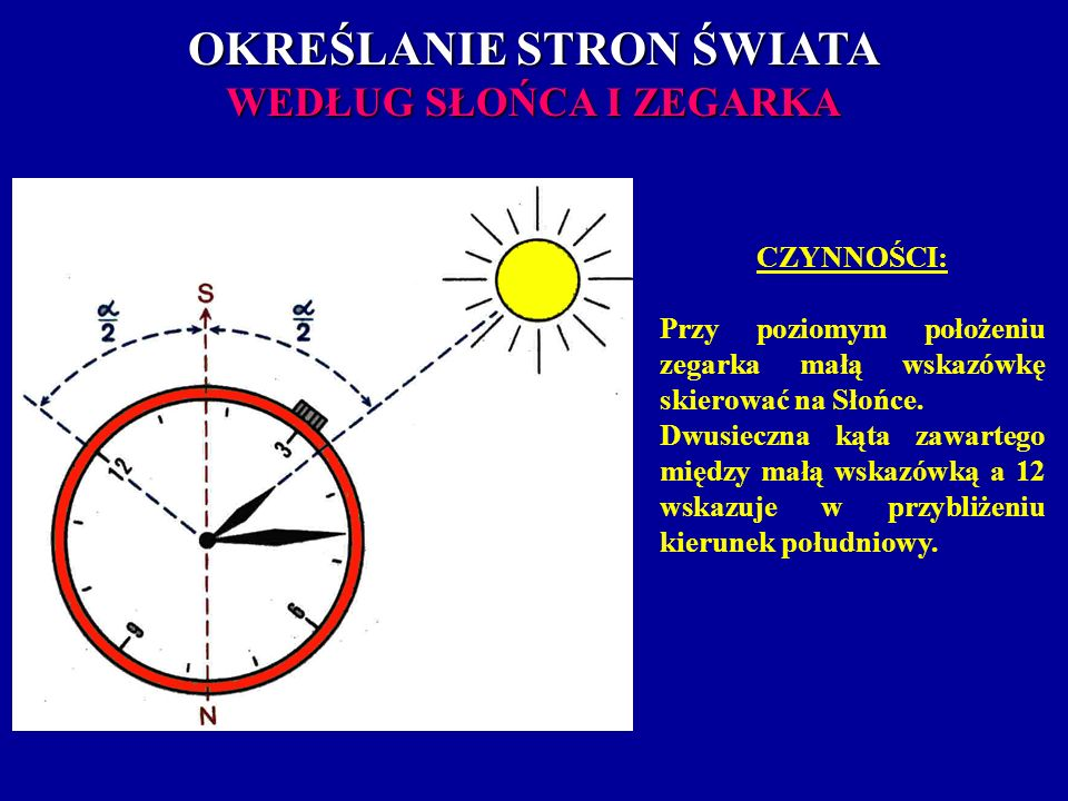 OKREŚLANIE STRON ŚWIATA WEDŁUG SŁOŃCA I ZEGARKA CZYNNOŚCI: Przy poziomym położeniu zegarka małą wskazówkę skierować na Słońce. Dwusieczna kąta zawarte