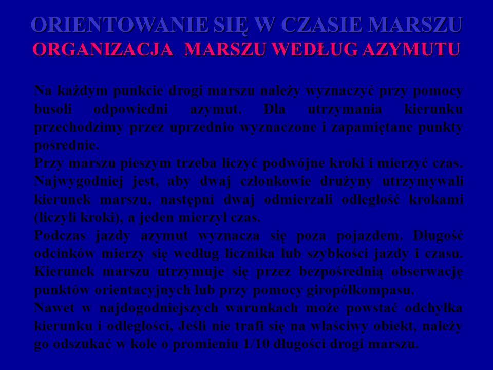 ORIENTOWANIE SIĘ W CZASIE MARSZU ORGANIZACJA MARSZU WEDŁUG AZYMUTU Na każdym punkcie drogi marszu należy wyznaczyć przy pomocy busoli odpowiedni azymu