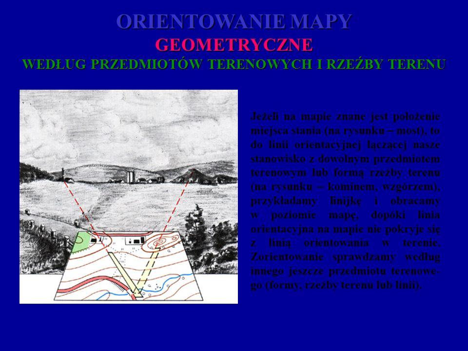 ORIENTOWANIE MAPY GEOMETRYCZNE WEDŁUG PRZEDMIOTÓW TERENOWYCH I RZEŹBY TERENU Jeżeli na mapie znane jest położenie miejsca stania (na rysunku – most),
