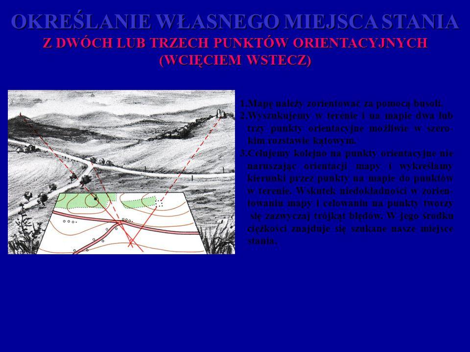 OKREŚLANIE WŁASNEGO MIEJSCA STANIA Z DWÓCH LUB TRZECH PUNKTÓW ORIENTACYJNYCH (WCIĘCIEM WSTECZ) 1.Mapę należy zorientować za pomocą busoli. 2.Wyszukuje