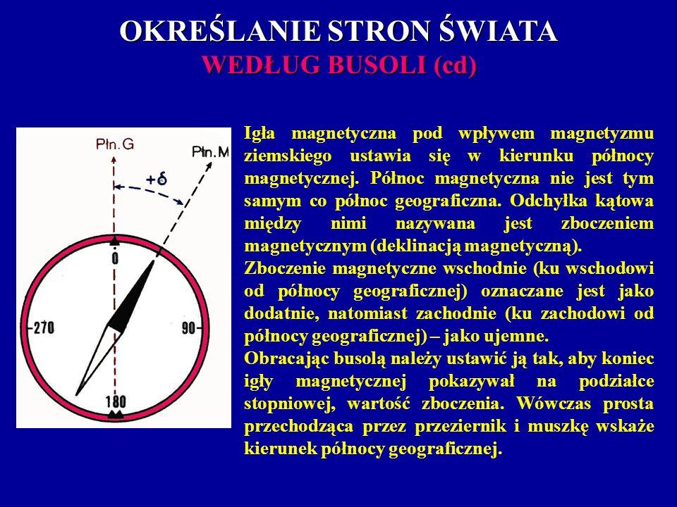 OKREŚLANIE STRON ŚWIATA WEDŁUG BUSOLI (cd) Igła magnetyczna pod wpływem magnetyzmu ziemskiego ustawia się w kierunku północy magnetycznej. Północ magn