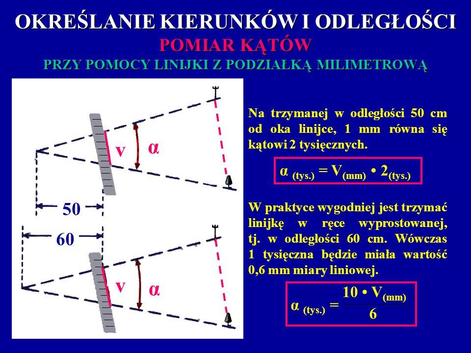 OKREŚLANIE KIERUNKÓW I ODLEGŁOŚCI POMIAR KĄTÓW PRZY POMOCY LINIJKI Z PODZIAŁKĄ MILIMETROWĄ 60 50 α α α v v Na trzymanej w odległości 50 cm od oka lini