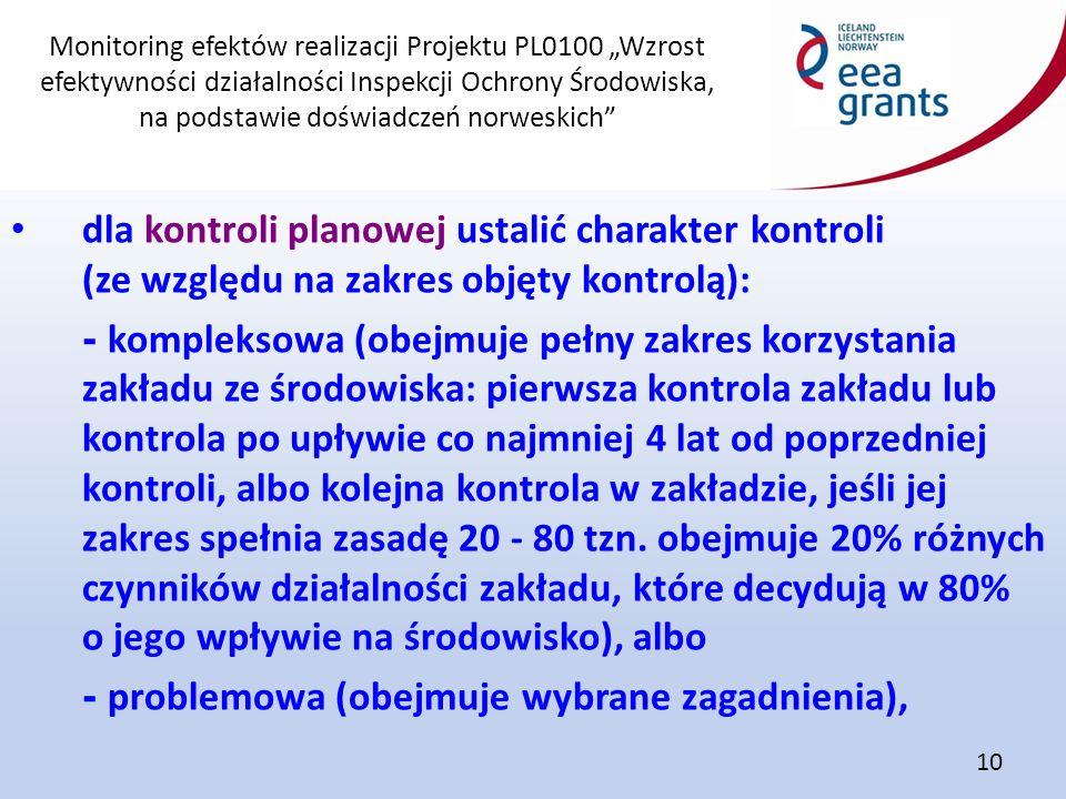"""Monitoring efektów realizacji Projektu PL0100 """"Wzrost efektywności działalności Inspekcji Ochrony Środowiska, na podstawie doświadczeń norweskich"""" 10"""