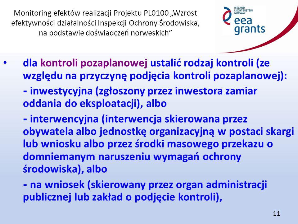 """Monitoring efektów realizacji Projektu PL0100 """"Wzrost efektywności działalności Inspekcji Ochrony Środowiska, na podstawie doświadczeń norweskich"""" 11"""