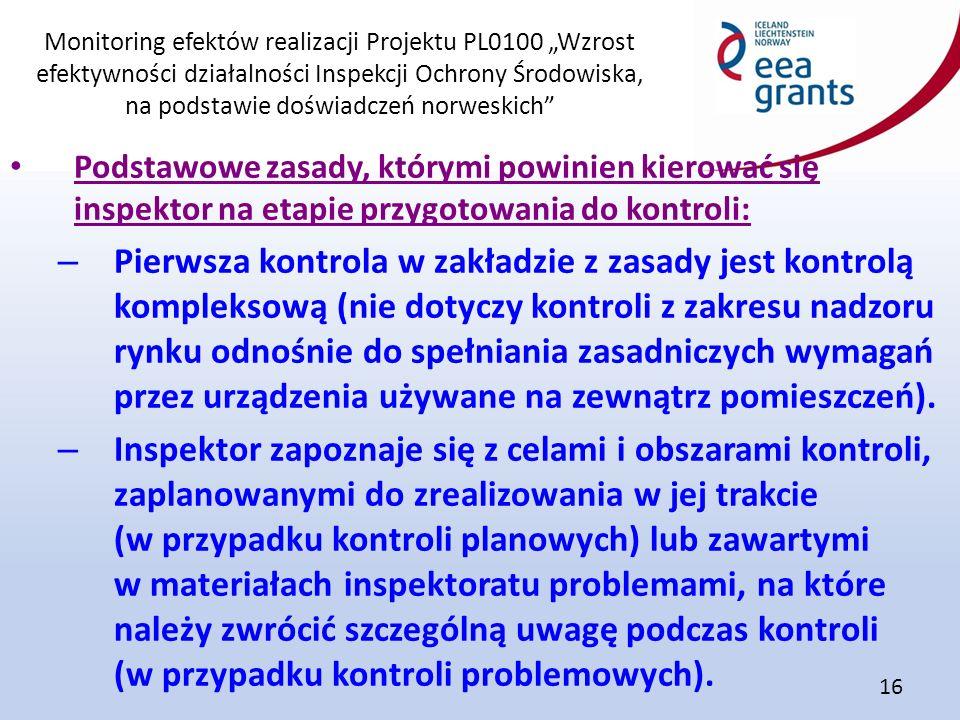 """Monitoring efektów realizacji Projektu PL0100 """"Wzrost efektywności działalności Inspekcji Ochrony Środowiska, na podstawie doświadczeń norweskich"""" 16"""