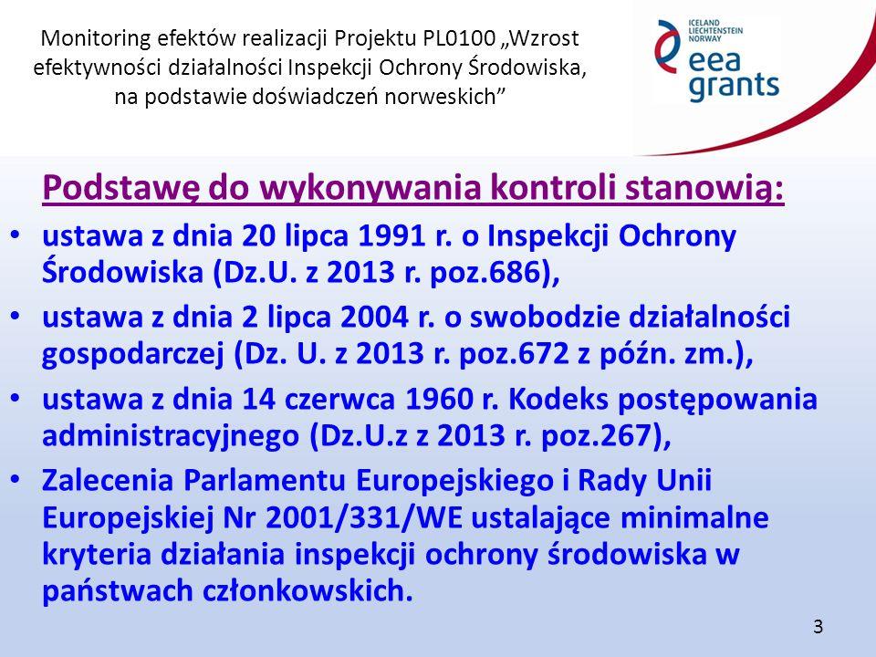 """Monitoring efektów realizacji Projektu PL0100 """"Wzrost efektywności działalności Inspekcji Ochrony Środowiska, na podstawie doświadczeń norweskich"""" 3 P"""