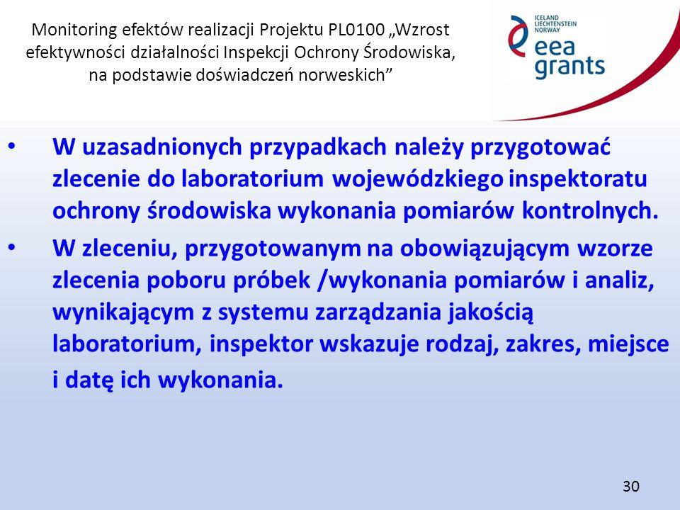 """Monitoring efektów realizacji Projektu PL0100 """"Wzrost efektywności działalności Inspekcji Ochrony Środowiska, na podstawie doświadczeń norweskich"""" 30"""