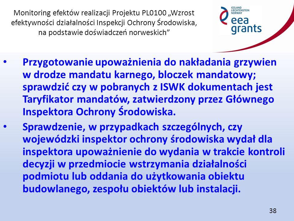 """Monitoring efektów realizacji Projektu PL0100 """"Wzrost efektywności działalności Inspekcji Ochrony Środowiska, na podstawie doświadczeń norweskich"""" 38"""