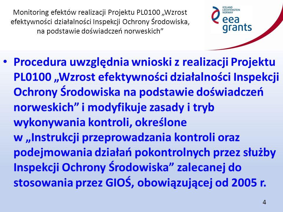 """Monitoring efektów realizacji Projektu PL0100 """"Wzrost efektywności działalności Inspekcji Ochrony Środowiska, na podstawie doświadczeń norweskich"""" 4 P"""