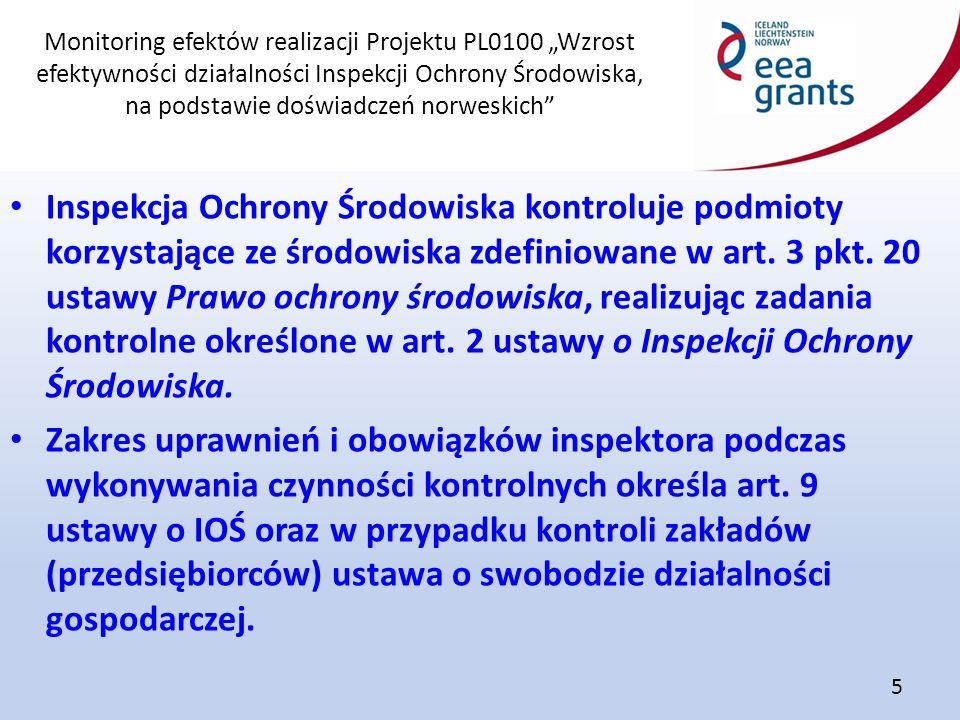 """Monitoring efektów realizacji Projektu PL0100 """"Wzrost efektywności działalności Inspekcji Ochrony Środowiska, na podstawie doświadczeń norweskich"""" 5 I"""