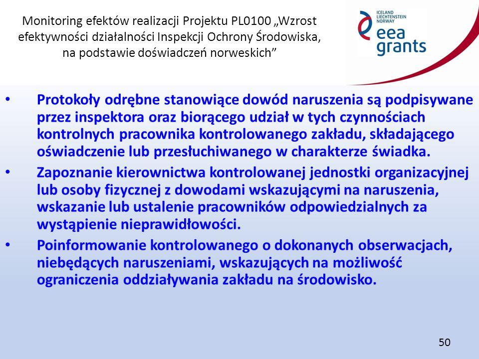 """Monitoring efektów realizacji Projektu PL0100 """"Wzrost efektywności działalności Inspekcji Ochrony Środowiska, na podstawie doświadczeń norweskich"""" 50"""
