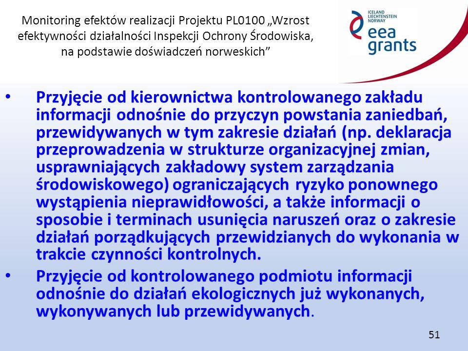 """Monitoring efektów realizacji Projektu PL0100 """"Wzrost efektywności działalności Inspekcji Ochrony Środowiska, na podstawie doświadczeń norweskich"""" 51"""