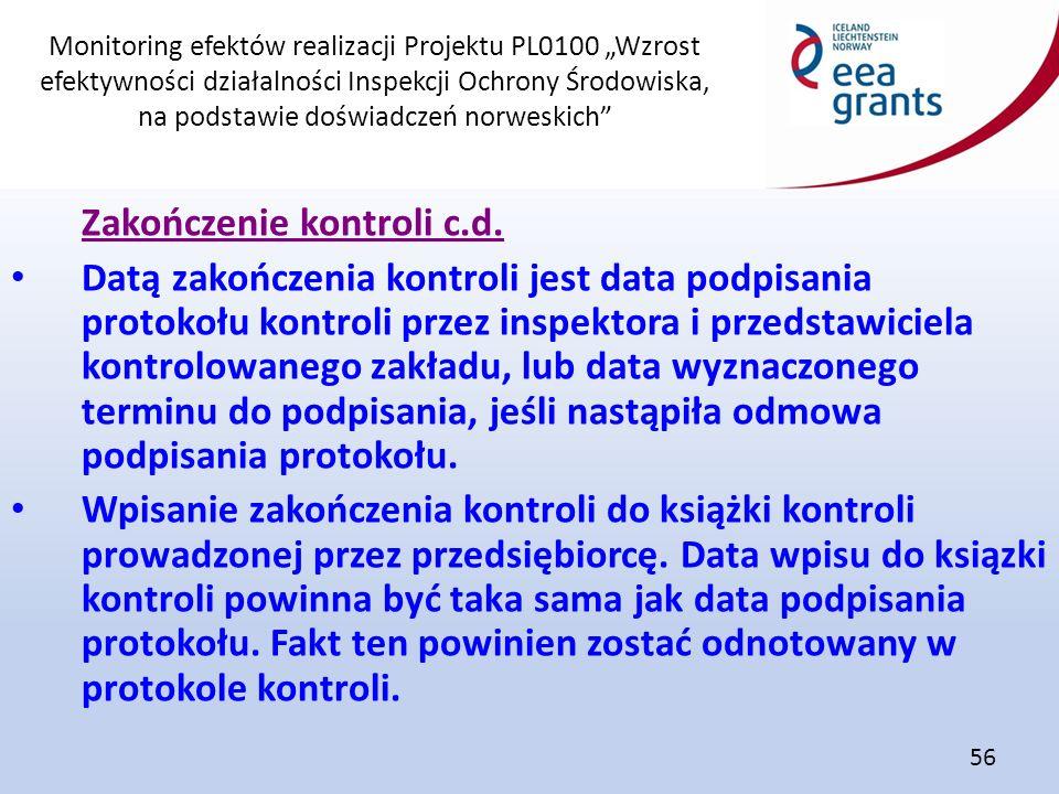 """Monitoring efektów realizacji Projektu PL0100 """"Wzrost efektywności działalności Inspekcji Ochrony Środowiska, na podstawie doświadczeń norweskich"""" 56"""