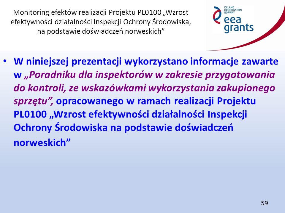 """Monitoring efektów realizacji Projektu PL0100 """"Wzrost efektywności działalności Inspekcji Ochrony Środowiska, na podstawie doświadczeń norweskich"""" 59"""