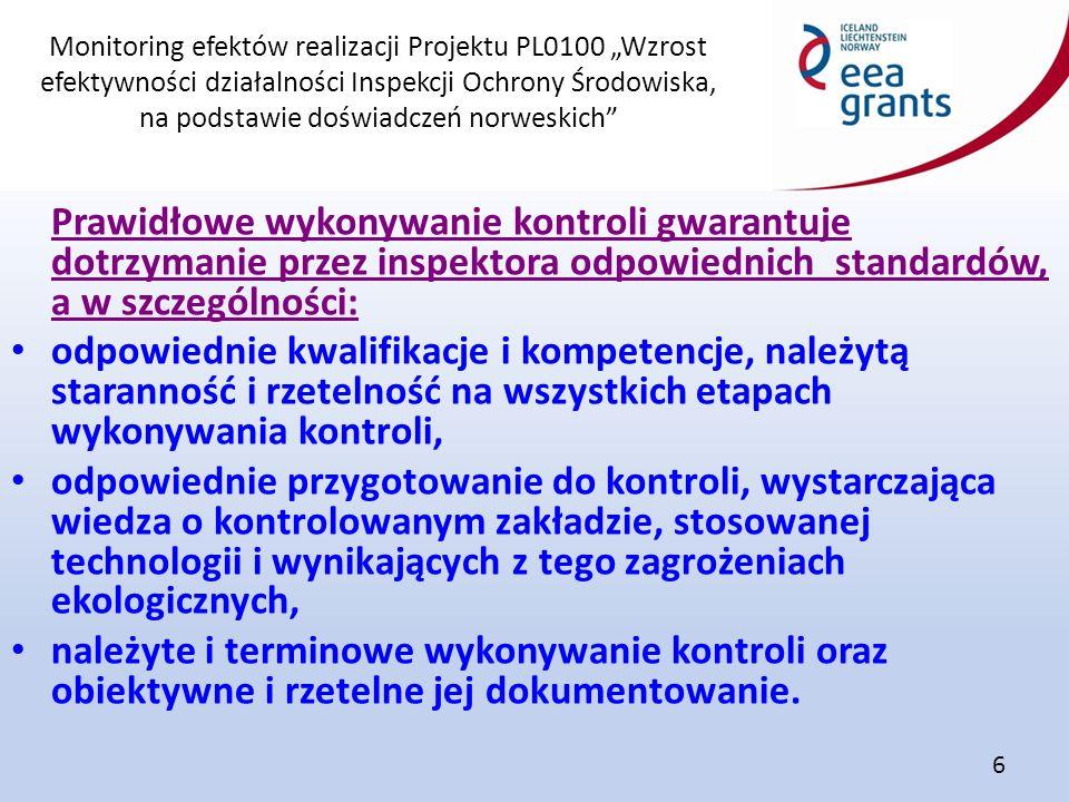 """Monitoring efektów realizacji Projektu PL0100 """"Wzrost efektywności działalności Inspekcji Ochrony Środowiska, na podstawie doświadczeń norweskich"""" 6 P"""