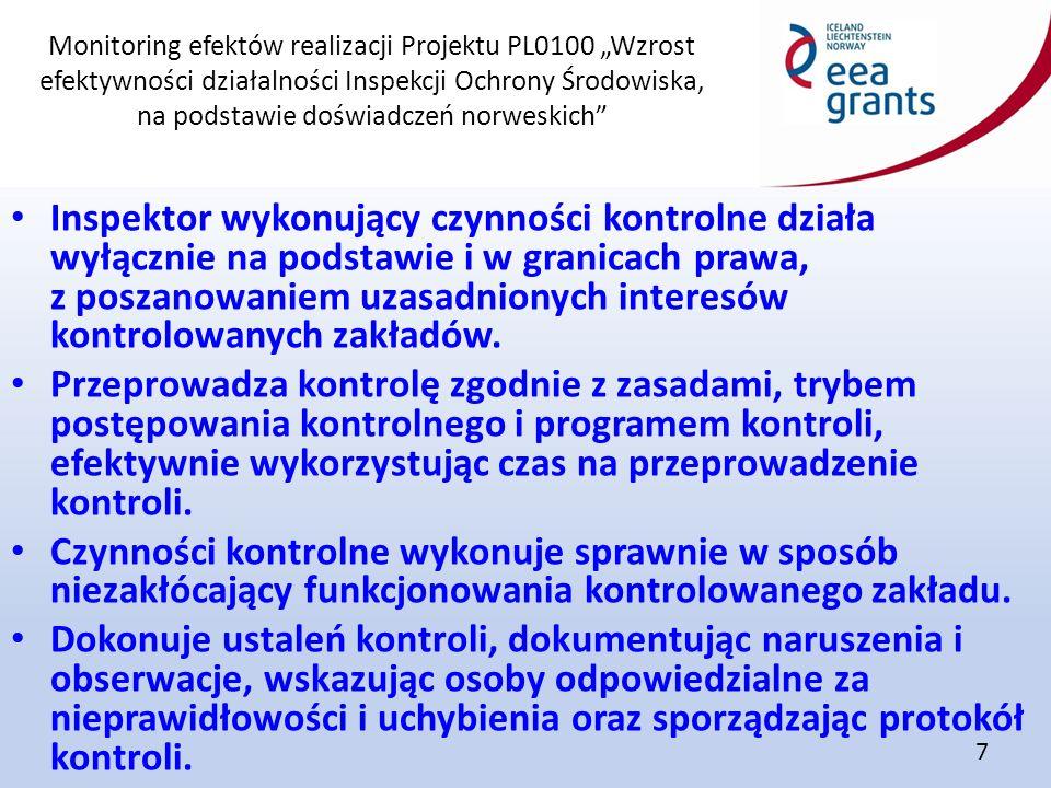 """Monitoring efektów realizacji Projektu PL0100 """"Wzrost efektywności działalności Inspekcji Ochrony Środowiska, na podstawie doświadczeń norweskich"""" 7 I"""