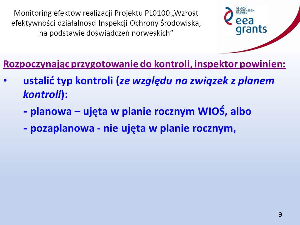 """Monitoring efektów realizacji Projektu PL0100 """"Wzrost efektywności działalności Inspekcji Ochrony Środowiska, na podstawie doświadczeń norweskich"""" 9 R"""
