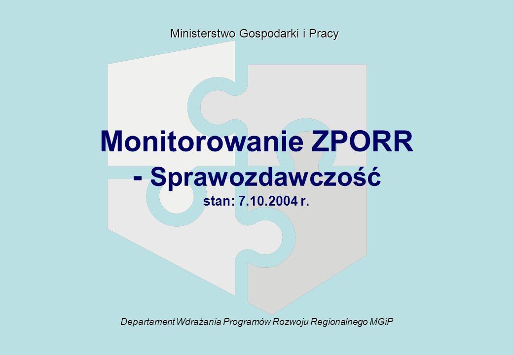 Departament Wdrażania Programów Rozwoju Regionalnego MGiP Ministerstwo Gospodarki i Pracy Monitorowanie ZPORR - Sprawozdawczość stan: 7.10.2004 r.