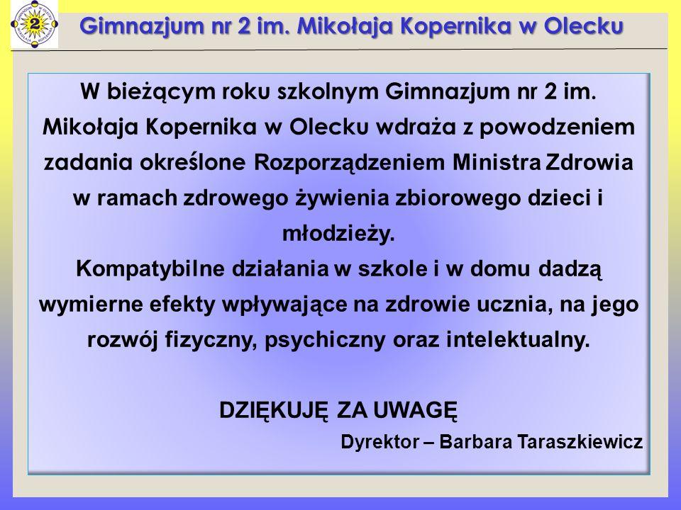 Gimnazjum nr 2 im. Mikołaja Kopernika w Olecku W bieżącym roku szkolnym Gimnazjum nr 2 im.