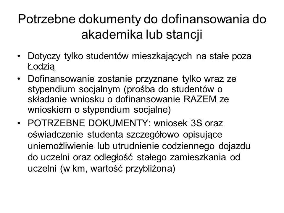 Potrzebne dokumenty do dofinansowania do akademika lub stancji Dotyczy tylko studentów mieszkających na stałe poza Łodzią Dofinansowanie zostanie przy