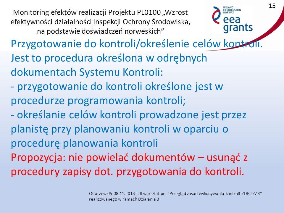 """Monitoring efektów realizacji Projektu PL0100 """"Wzrost efektywności działalności Inspekcji Ochrony Środowiska, na podstawie doświadczeń norweskich Przygotowanie do kontroli/określenie celów kontroli."""