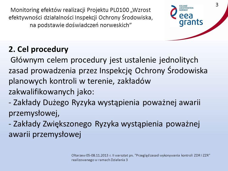 """Monitoring efektów realizacji Projektu PL0100 """"Wzrost efektywności działalności Inspekcji Ochrony Środowiska, na podstawie doświadczeń norweskich 24 Ołtarzew 05-08.11.2013 r."""