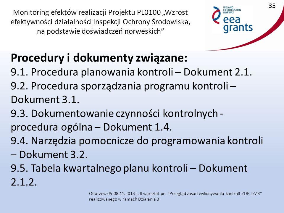 """Monitoring efektów realizacji Projektu PL0100 """"Wzrost efektywności działalności Inspekcji Ochrony Środowiska, na podstawie doświadczeń norweskich Procedury i dokumenty związane: 9.1."""
