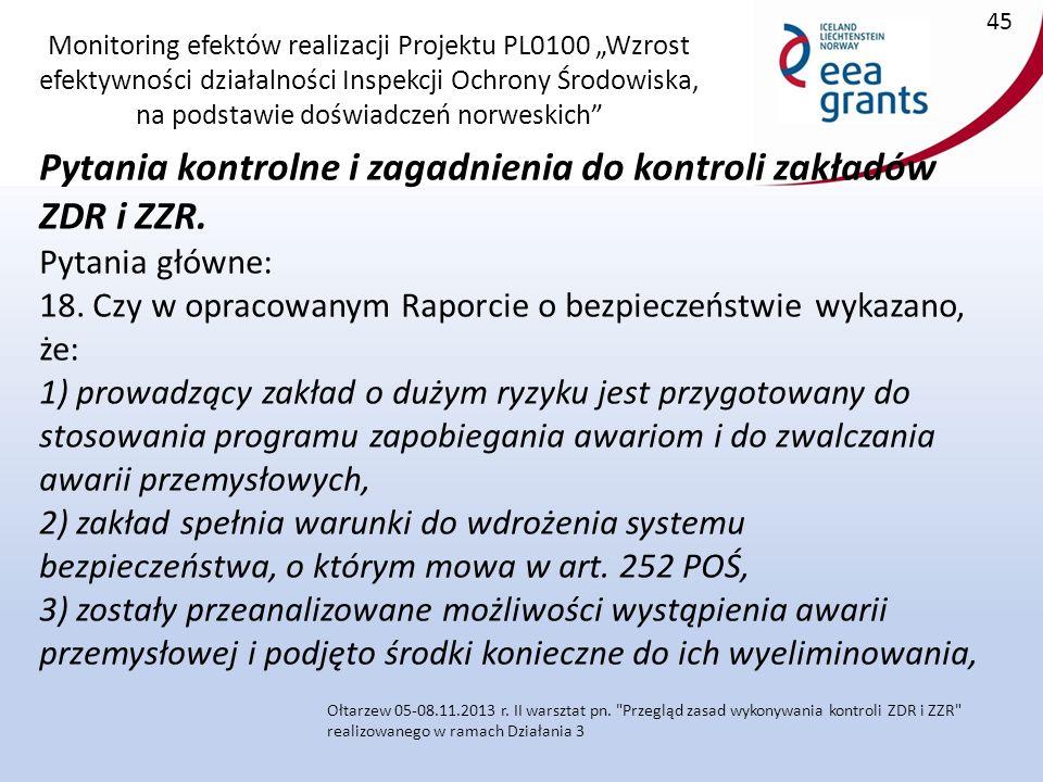 """Monitoring efektów realizacji Projektu PL0100 """"Wzrost efektywności działalności Inspekcji Ochrony Środowiska, na podstawie doświadczeń norweskich Pytania kontrolne i zagadnienia do kontroli zakładów ZDR i ZZR."""